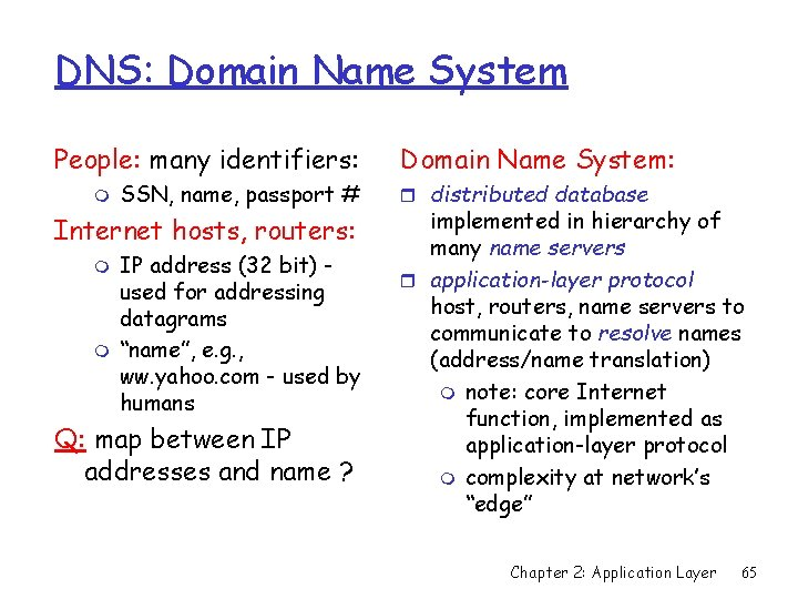 DNS: Domain Name System People: many identifiers: m SSN, name, passport # Internet hosts,