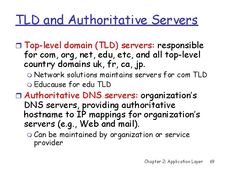 TLD and Authoritative Servers r Top-level domain (TLD) servers: responsible for com, org, net,