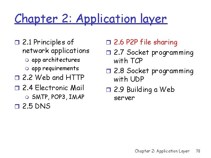 Chapter 2: Application layer r 2. 1 Principles of network applications m m app