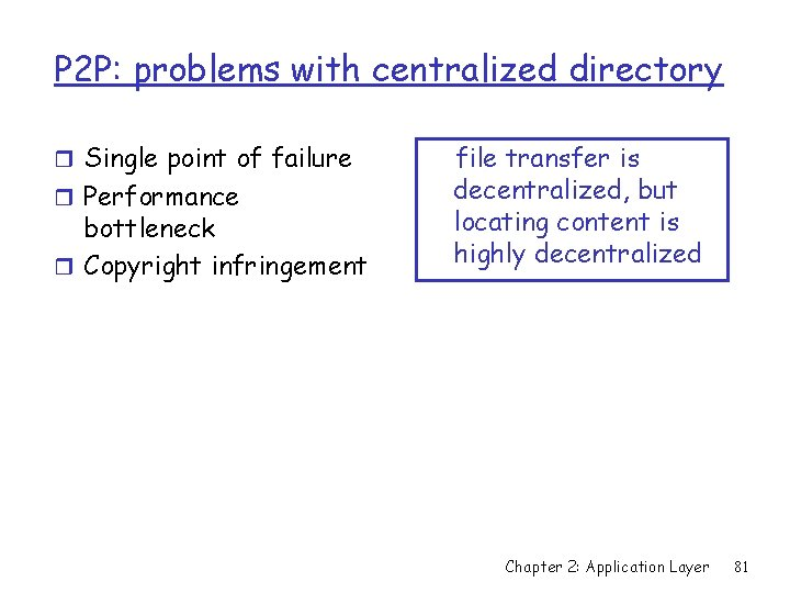 P 2 P: problems with centralized directory r Single point of failure r Performance