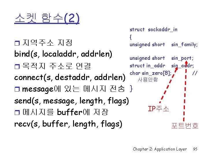 소켓 함수(2) r 지역주소 지정 bind(s, localaddr, addrlen) r 목적지 주소로 연결 struct sockaddr_in