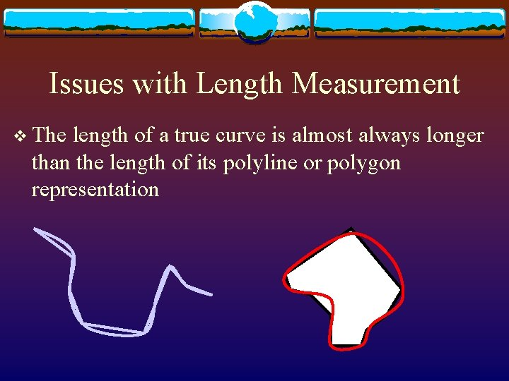Issues with Length Measurement v The length of a true curve is almost always