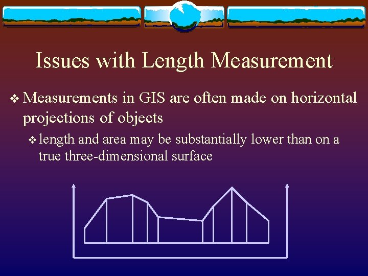 Issues with Length Measurement v Measurements in GIS are often made on horizontal projections