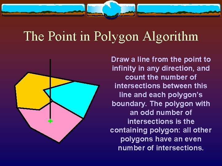 The Point in Polygon Algorithm Draw a line from the point to infinity in