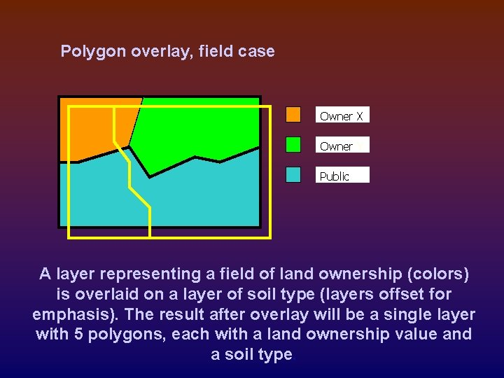 Polygon overlay, field case Owner X Owner Y Public A layer representing a field