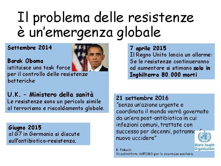 Il problema delle resistenze è un'emergenza globale Settembre 2014 Barak Obama istituisce una task
