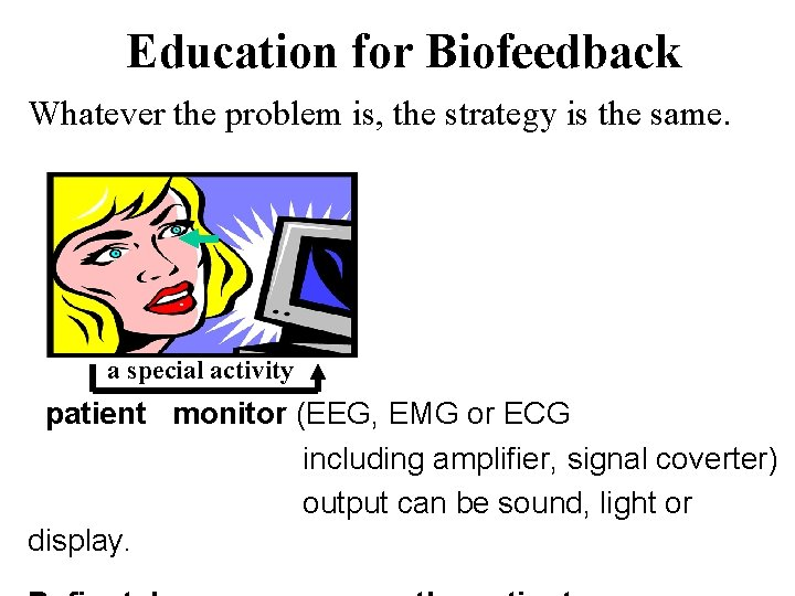 Education for Biofeedback Whatever the problem is, the strategy is the same. a special