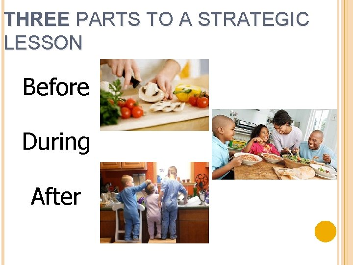THREE PARTS TO A STRATEGIC LESSON Before During After