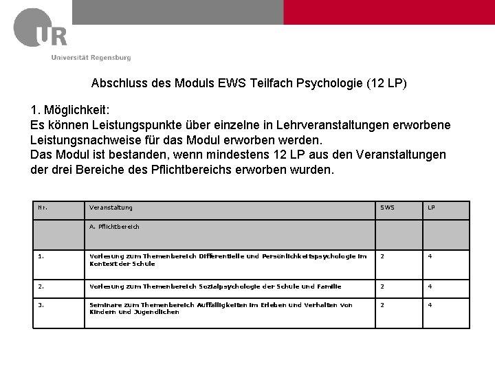 Abschluss des Moduls EWS Teilfach Psychologie (12 LP) 1. Möglichkeit: Es können Leistungspunkte