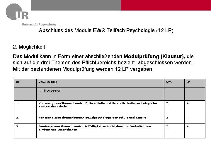 Abschluss des Moduls EWS Teilfach Psychologie (12 LP) 2. Möglichkeit: Das Modul kann