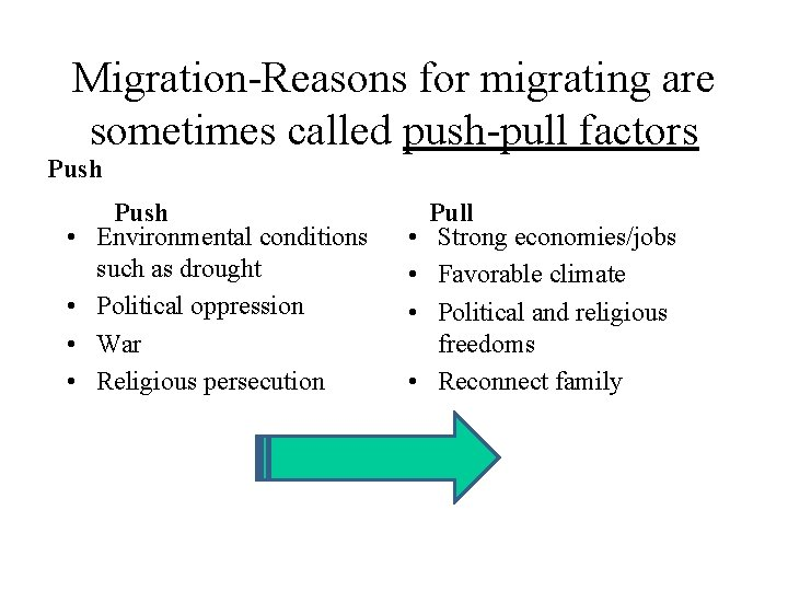 Migration-Reasons for migrating are sometimes called push-pull factors Push • • Push Environmental conditions