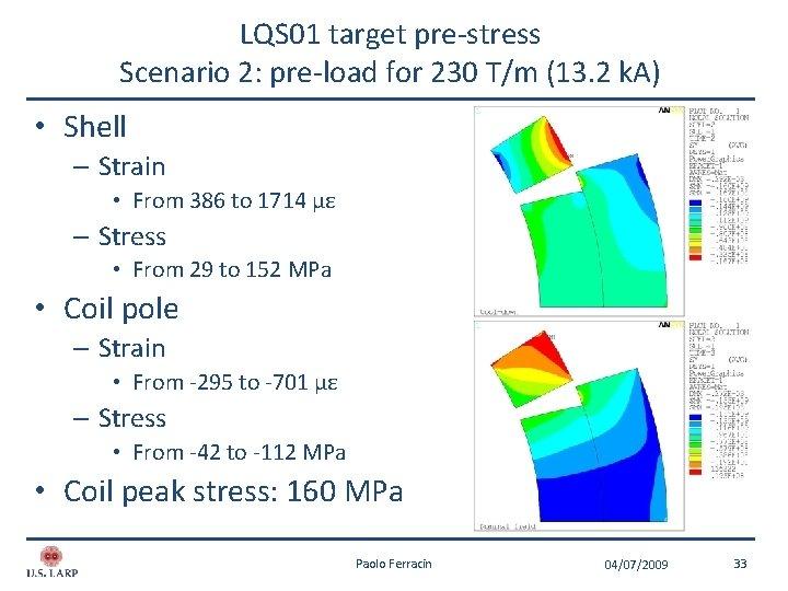 LQS 01 target pre-stress Scenario 2: pre-load for 230 T/m (13. 2 k. A)