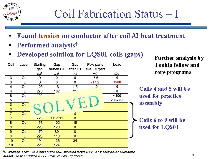 Coil Fabrication Status – I • Found tension on conductor after coil #3 heat