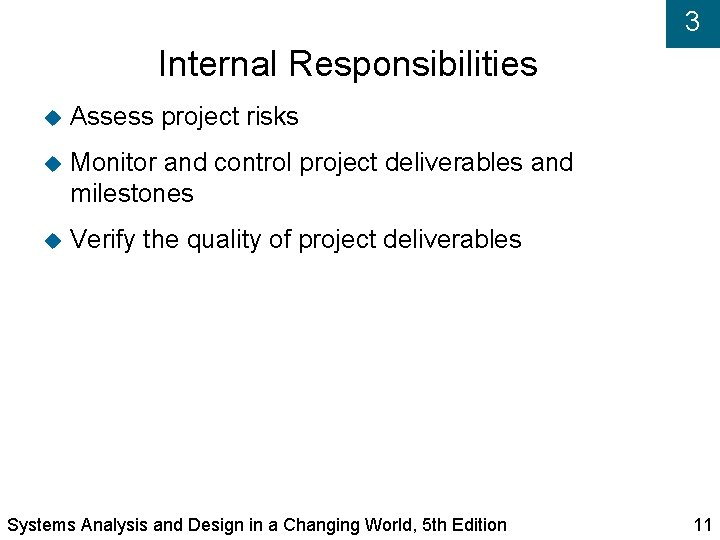 3 Internal Responsibilities Assess project risks Monitor and control project deliverables and milestones Verify