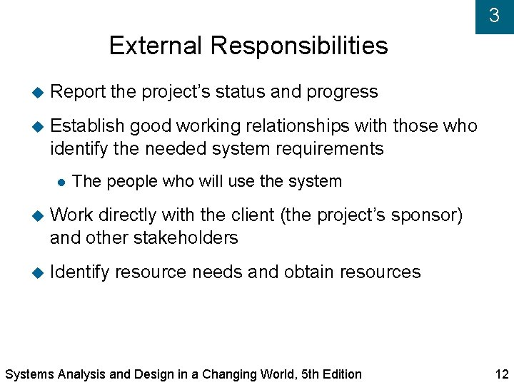 3 External Responsibilities Report the project's status and progress Establish good working relationships with