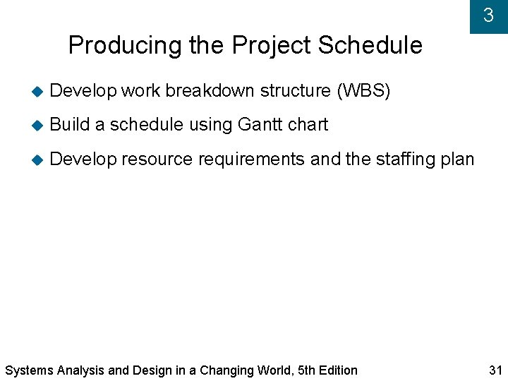 3 Producing the Project Schedule Develop work breakdown structure (WBS) Build a schedule using