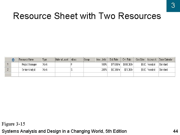 3 Resource Sheet with Two Resources Figure 3 -15 Systems Analysis and Design in