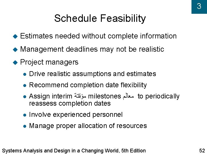 3 Schedule Feasibility Estimates needed without complete information Management deadlines may not be realistic