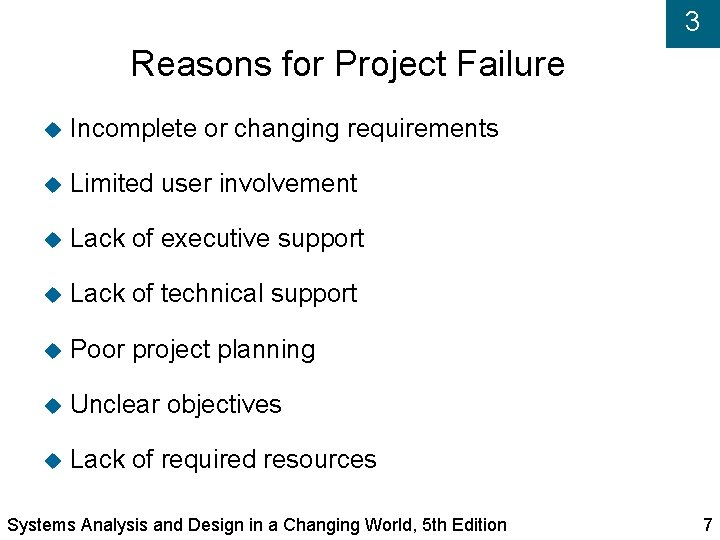 3 Reasons for Project Failure Incomplete or changing requirements Limited user involvement Lack of