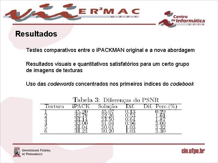 Resultados Testes comparativos entre o i. PACKMAN original e a nova abordagem Resultados visuais