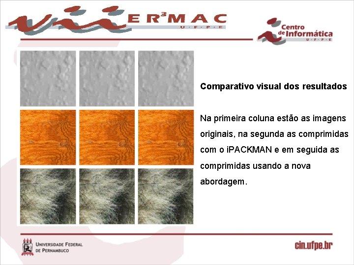 Comparativo visual dos resultados Na primeira coluna estão as imagens originais, na segunda as
