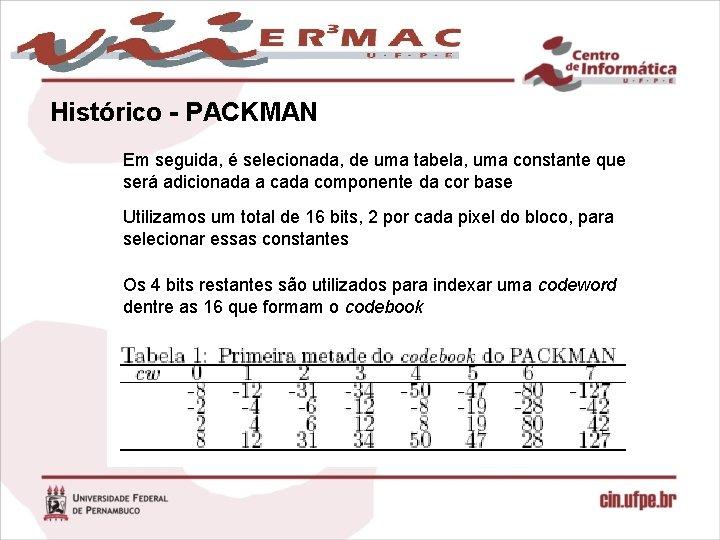 Histórico - PACKMAN Em seguida, é selecionada, de uma tabela, uma constante que será