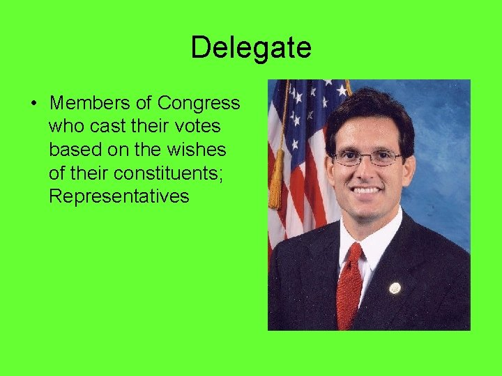 Delegate • Members of Congress who cast their votes based on the wishes of