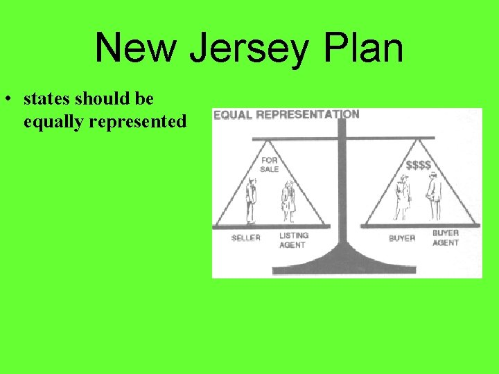 New Jersey Plan • states should be equally represented