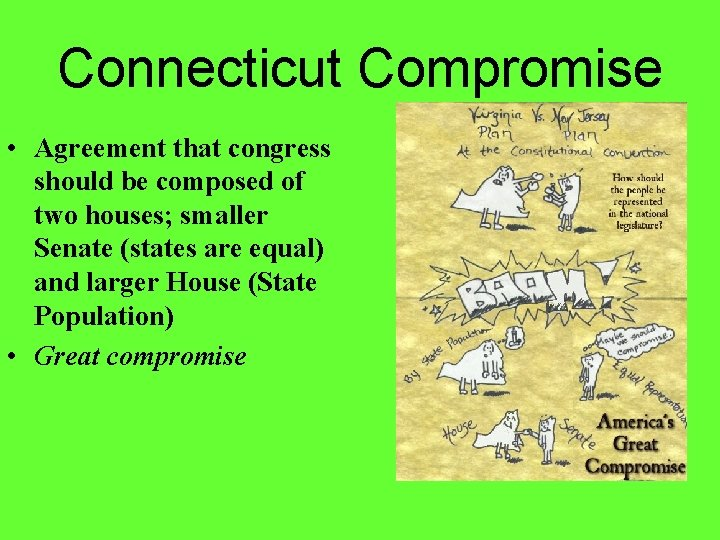 Connecticut Compromise • Agreement that congress should be composed of two houses; smaller Senate