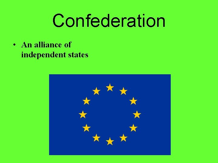 Confederation • An alliance of independent states