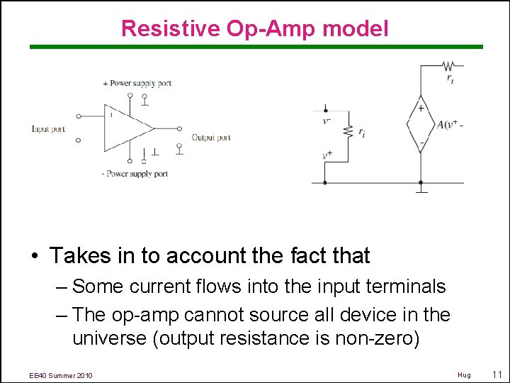 Resistive Op-Amp model • Takes in to account the fact that – Some current
