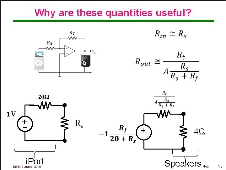 Why are these quantities useful? 20Ω i. Pod EE 40 Summer 2010 Rs –