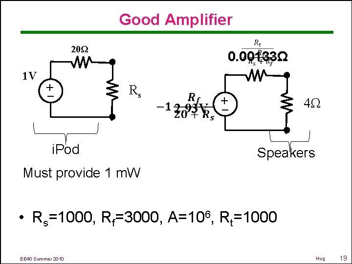 Good Amplifier 0. 00133Ω 20Ω Rs i. Pod 2. 93 V – + 1