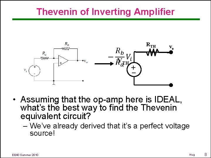 Thevenin of Inverting Amplifier RTH – + VTH vo • Assuming that the op-amp