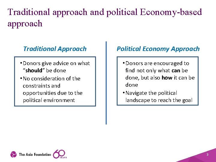 Traditional approach and political Economy-based approach Traditional Approach Political Economy Approach • Donors give