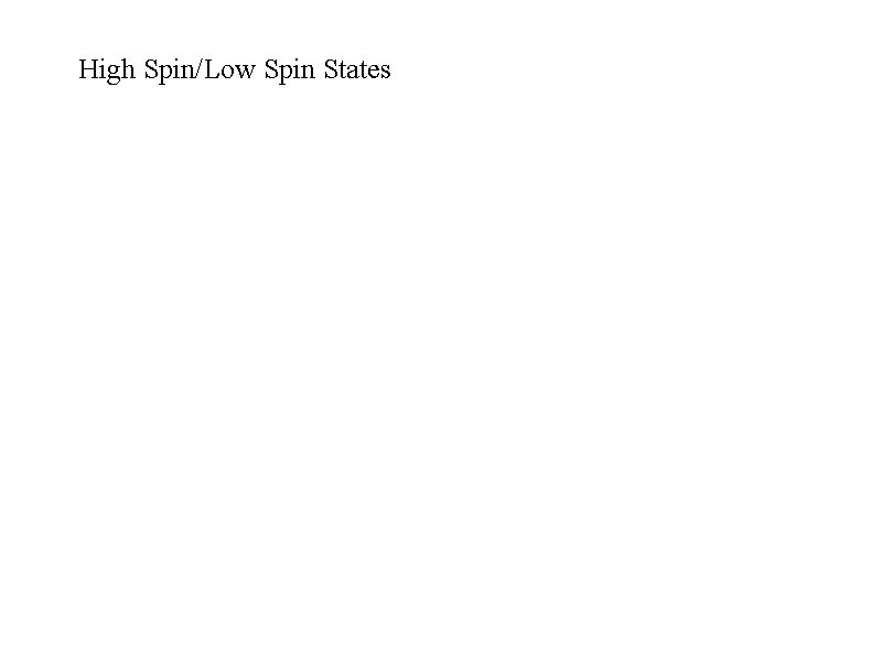 High Spin/Low Spin States
