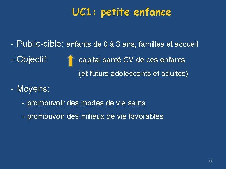UC 1: petite enfance - Public-cible: enfants de 0 à 3 ans, familles et