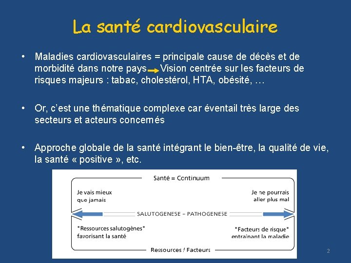 La santé cardiovasculaire • Maladies cardiovasculaires = principale cause de décès et de morbidité