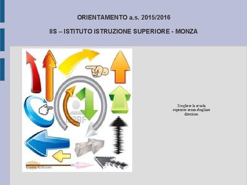 ORIENTAMENTO a. s. 2015/2016 IIS – ISTITUTO ISTRUZIONE SUPERIORE - MONZA Scegliere la scuola