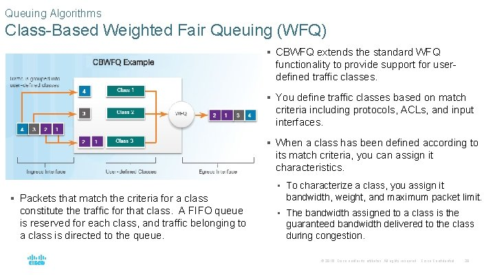 Queuing Algorithms Class-Based Weighted Fair Queuing (WFQ) § CBWFQ extends the standard WFQ functionality