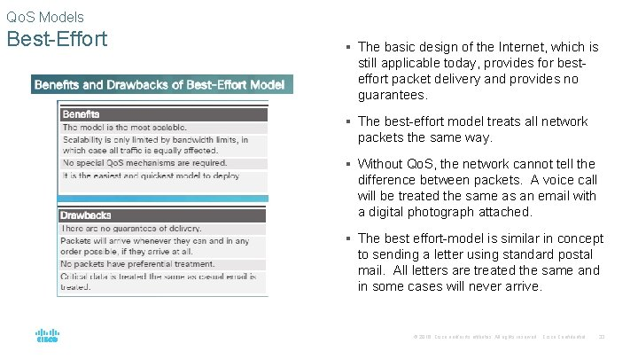 Qo. S Models Best-Effort § The basic design of the Internet, which is still