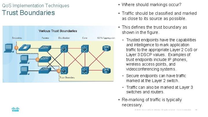 Qo. S Implementation Techniques § Where should markings occur? Trust Boundaries § Traffic should