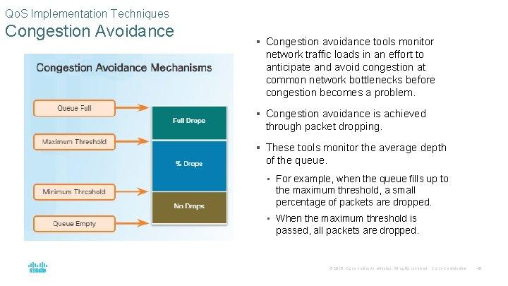 Qo. S Implementation Techniques Congestion Avoidance § Congestion avoidance tools monitor network traffic loads