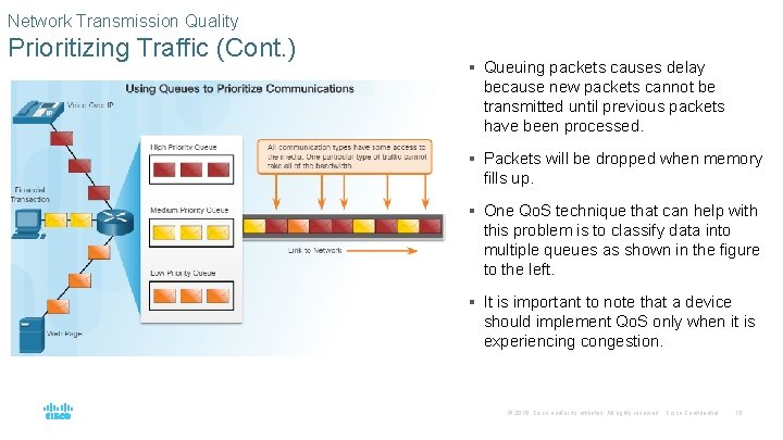 Network Transmission Quality Prioritizing Traffic (Cont. ) § Queuing packets causes delay because new