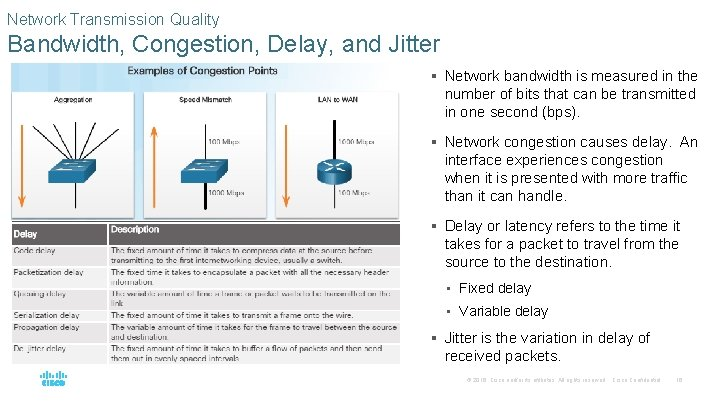 Network Transmission Quality Bandwidth, Congestion, Delay, and Jitter § Network bandwidth is measured in