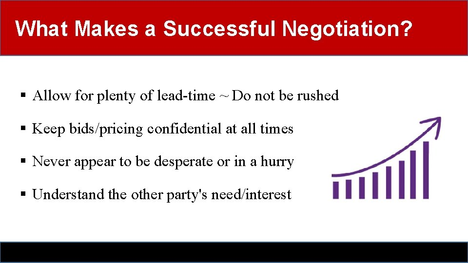 What Makes a Successful Negotiation? § Allow for plenty of lead-time ~ Do not