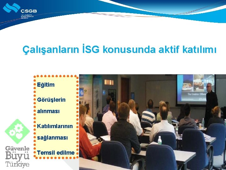 Çalışanların İSG konusunda aktif katılımı Eğitim Görüşlerin alınması Katılımlarının sağlanması Temsil edilme