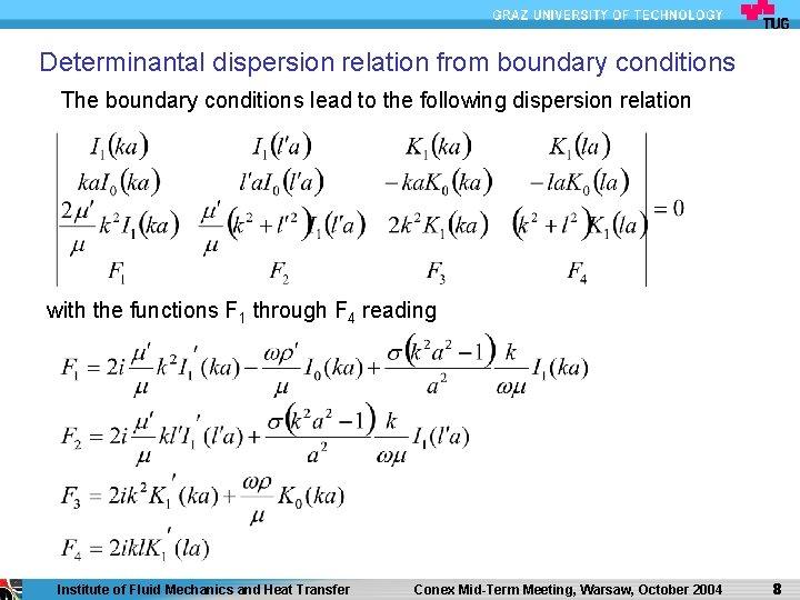 Determinantal dispersion relation from boundary conditions The boundary conditions lead to the following dispersion