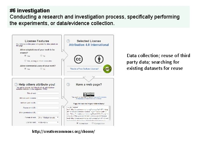 #6 investigation Conducting a research and investigation process, specifically performing the experiments, or data/evidence
