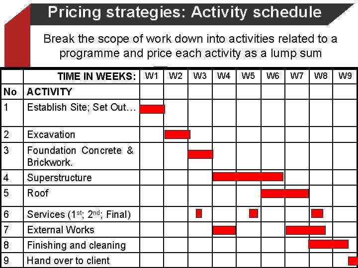 Pricing strategies: Activity schedule Break the scope of work down into activities related to
